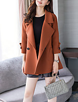 cheap -Women's Going out Casual/Daily Simple Street chic Spring Fall Trench CoatSolid Notch Lapel Long Sleeve Regular Polyester Oversized