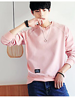 cheap -Men's Plus Size Going out Sweatshirt Solid Round Neck Micro-elastic Polyester Long Sleeve Autumn/Fall