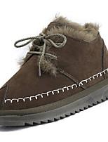 Недорогие -Для женщин Обувь Полиуретан Зима Осень Удобная обувь Модная обувь Ботинки На плоской подошве Круглый носок Ботинки для Повседневные