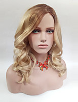 cheap -Women Synthetic Wig Medium Length Wavy Ombre Brown/Gold Side Part Natural Wigs Costume Wig