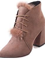 Недорогие -Для женщин Обувь Нубук Замша Полиуретан Зима Осень Удобная обувь Ботинки На толстом каблуке Заостренный носок Сапоги до середины икры для