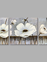 cheap -Hand-Painted Floral/Botanical Vertical,Modern Canvas Oil Painting Home Decoration Three Panels
