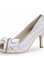 preiswerte -Damen Schuhe Seide Frühling Sommer Pumps Hochzeit Schuhe Stöckelabsatz Peep Toe Strass für Hochzeit Party & Festivität Rot Rosa Hellblau