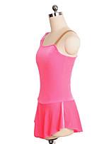 cheap -Figure Skating Dress Women's Girls' Ice Skating Dress Pink Spandex Inelastic Performance Practise Skating Wear Solid Sleeveless Ice