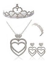 cheap -Women's Headwear Bridal Jewelry Sets Rhinestone Fashion European Wedding Party Imitation Diamond Alloy Heart Body Jewelry 1 Necklace 1