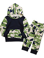 cheap -Baby Boys' Daily Going out Print Clothing Set,Cotton All Seasons Simple Casual Long Sleeve Green