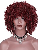 cheap -Women Synthetic Wig Short Afro Red African American Wig With Bangs Natural Wigs Costume Wig