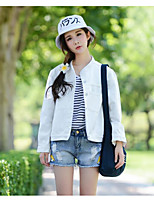 cheap -Women's Daily Casual Fall Denim Jacket,Solid Round Neck Long Sleeve Short Cotton