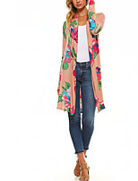 cheap -Women's Holiday Street chic Spring Fall Trench Coat,Floral Print Peter Pan Collar Long Sleeve Long Polyester