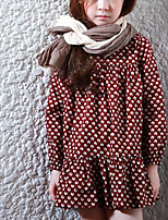 Girl's Holiday Casual/Daily Polka Dot Dress,Polyester Fall Long Sleeves Simple Red