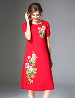 cheap -8CFAMILY Women's Holiday Going out Boho Chinoiserie A Line Dress,Floral Round Neck Midi 3/4 Sleeve Rayon Nylon Spring Fall Mid Rise Micro-elastic