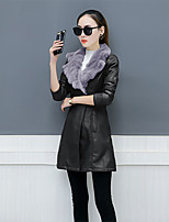 Women's Casual/Daily Simple Winter Fall Fur Coat,Solid Shirt Collar Long Sleeve Regular Faux Fur PU