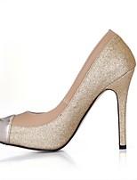 preiswerte -Damen Schuhe PU Frühling Herbst Komfort High Heels Stöckelschuh Runde Zehe für Hochzeit Party & Festivität Gold