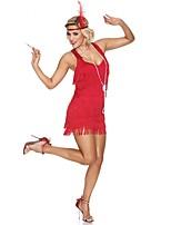 Недорогие -Великий Гэтсби 1920-е года Костюм Жен. Платье для флаперов Костюм для вечеринки Коктейльные платья  Черный + Щепка Красный + черный