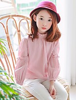 cheap -Girls' Solid Shirt,Cotton Fall Long Sleeve Simple Blushing Pink