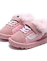 cheap -Girls' Shoes Nubuck leather Winter Fall Snow Boots Comfort Boots Walking Shoes Magic Tape Lace-up for Casual Black Pink Camel