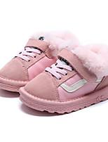 Недорогие -Девочки обувь Нубук Зима Осень Зимние сапоги Удобная обувь Ботинки Для прогулок На липучках Шнуровка для Повседневные Черный Розовый