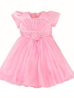 cheap -Girl's Birthday Going out Solid Dress,Cotton Polyester Summer Spring, Fall, Winter, Summer Short Sleeves Cute Princess Blushing Pink