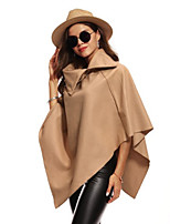 cheap -Women's Daily Going out Casual Street chic Winter Fall Trench Coat,Solid Turtleneck ¾ Sleeve Regular Polyester