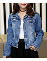 cheap -Women's Daily Casual Spring Denim Jacket,Solid Shirt Collar Long Sleeve Short Cotton
