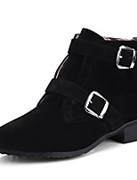 cheap -Women's Shoes Leatherette Winter Fashion Boots Boots Low Heel Round Toe Booties/Ankle Boots Buckle for Casual Dress Green Black