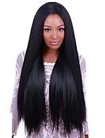 Недорогие -Синтетические кружевные передние парики Прямой Искусственные волосы Прямой пробор Черный Парик Жен. Средние / Длинные Парик из