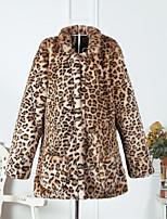 Недорогие -Для женщин Повседневные Зима Осень Пальто с мехом Рубашечный воротник,Винтаж Секси Леопард Обычная Длинные рукава,Искусственный мех