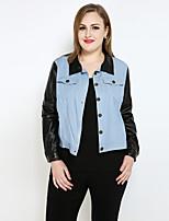 cheap -Women's Daily Holiday Vintage Casual Punk & Gothic All Season Fall Denim Jacket,Color Block Shirt Collar Long Sleeve Regular Cotton Faux
