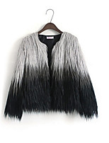 cheap -Women's Casual/Daily Simple Fall Fur Coat,Color Block Round Neck Long Sleeve Regular Faux Fur Oversized