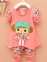 cheap -Girls' Daily Going out Print Cartoon Clothing Set,Cotton All Seasons Long Sleeve Cute Casual Active Blushing Pink Yellow Fuchsia