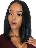 cheap -Luffy Unprocessed Pre Plucked Peruvian Human Hair Silky Straight Bob 13*6 Lace Front Wig Bob Cut Wig with Baby Hair Bleached Knots