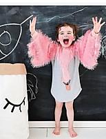 Недорогие -Девичий Платье Рождество День рождения Хлопок С животными принтами Лебедь Весна Длинный рукав Мультяшная тематика Розовый