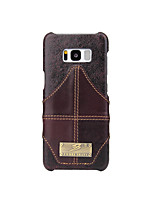 cheap -Case For Samsung Galaxy S8 Plus S8 Card Holder Back Cover Solid Color Hard Genuine Leather for S8 Plus S8