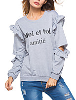 cheap -Women's Daily Going out Street chic Punk & Gothic All Seasons T-shirt,Letter Round Neck Long Sleeve Cotton Acrylic Medium