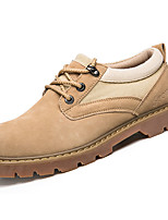 cheap -Men's Shoes PU Spring Fall Comfort Oxfords for Outdoor Khaki Yellow