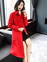 cheap -EWUS Women's Going out Casual/Daily Street chic Winter Trench Coat,Solid Stand Long Sleeve Long Wool Polyester Spandex Bow