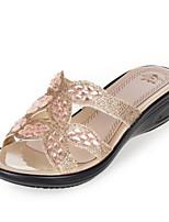 cheap -Women's Shoes PU Summer Comfort Slippers & Flip-Flops Flat Open Toe for Casual Silver Gold