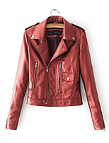 cheap -Women's Daily Casual Winter Fall Leather Jacket,Solid Shirt Collar Long Sleeve Regular PU