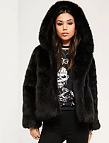 Women's Going out Casual/Daily Street chic Winter Fall Fur Coat,Solid Hooded Long Sleeve Regular Faux Fur Pleated
