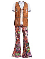 cheap -Hippie Costume Men's Corset Outfits Costume Brown Vintage Cosplay Spandex Short Sleeves T-shirt Briefs