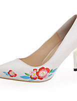 cheap -Women's Shoes PU Spring Fall Comfort Heels Stiletto Heel for Casual White
