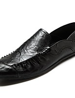 cheap -Men's Shoes Cowhide Spring Fall Moccasin Loafers & Slip-Ons for Casual Black White