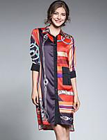 cheap -Women's Daily Casual Fall Shirt,Geometric Shirt Collar Long Sleeve Polyester