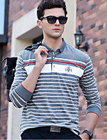 cheap -Men's Going out Casual/Daily Street chic Polo,Striped Shirt Collar Long Sleeves Cotton
