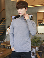Men's Casual/Daily Simple Regular Pullover,Solid Turtleneck Long Sleeves Polyester Winter Fall Opaque strenchy