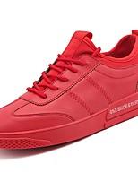 Недорогие -Для мужчин обувь Наппа Leather Весна Осень Удобная обувь Кеды Для прогулок Ботинки для Белый Черный Красный