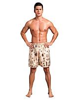 abordables -Hombre Microelástico Estampado Medio Slip,Seda 1pc Beige