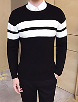 cheap -Men's Casual/Daily Vintage Regular Pullover,Striped Crew Neck Long Sleeves Polyester Fall Thin Stretchy