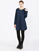 cheap -Women's Daily Vintage Fall Denim Jacket,Solid Round Neck Long Sleeve Regular Cotton Beaded
