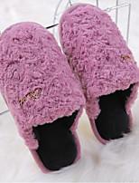 Недорогие -Для женщин Обувь Флис Весна Осень Удобная обувь Тапочки и Шлепанцы Плоские для Повседневные Лиловый Светло-желтый Светло-серый Розовый
